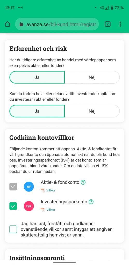 Öppna ISK på Avanza