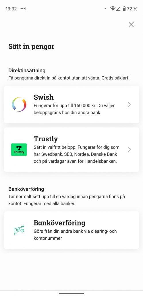 Sätta in pengar på aktiekonto med Swish eller Trustly på Avanza