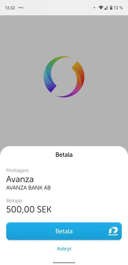 Sätt in pengar på aktiekontot på Avanza