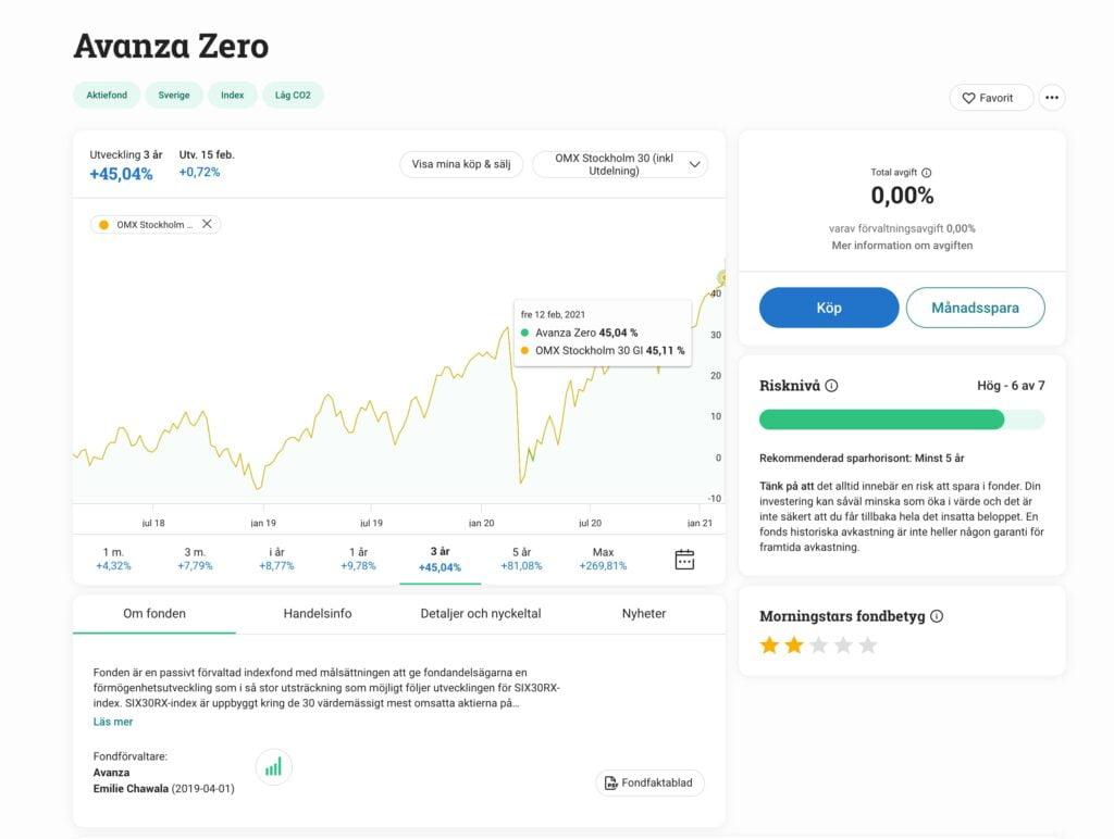 Avanza Zero och OMXS30