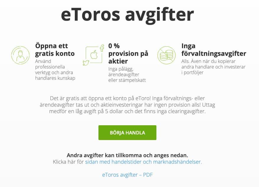 Avgifter på eToro Sverige
