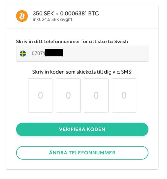 smsverifiering för att köpa bitcoin med swish på sparacash