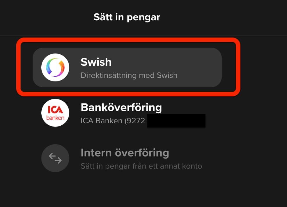 Hur du sätter in pengar på SAVR med Swish