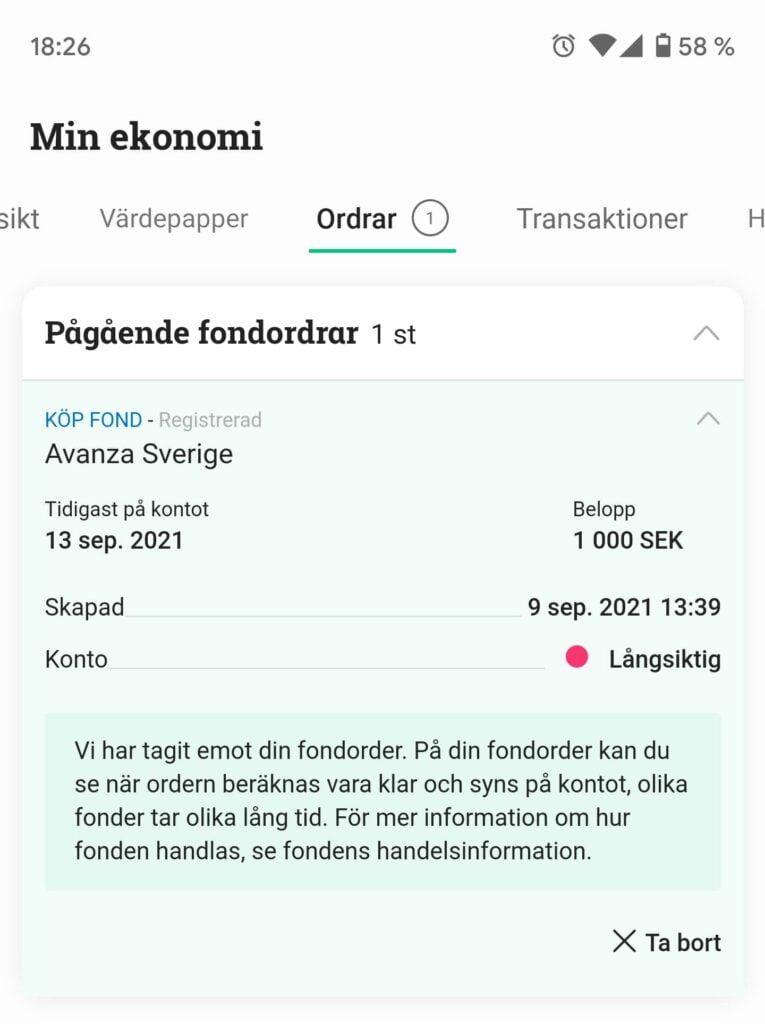 Köporder på Avanza Sverige