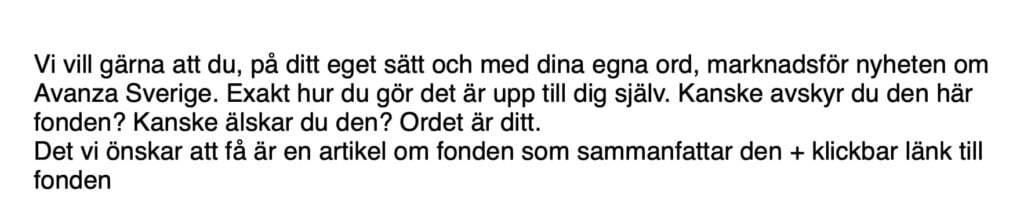 Avanzas mail om Avanza Sverige